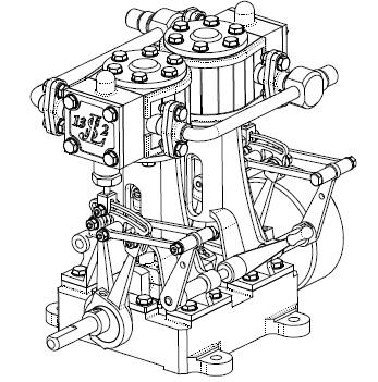 Soumard Twin Engine: A very well designed two cylinder vertical engine with slide valves. The plans are in French and are Metric.
